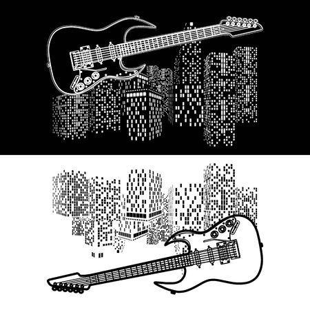 instrumentos de musica: paisaje urbano del vector con una guitarra eléctrica en el primer plano, dos proyecciones hechas en blanco sobre un fondo negro y negro sobre un background.It blanco se puede utilizar como fondo negro o blanco, de cualquier tamaño. Vectores