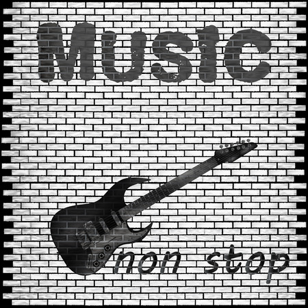 fret: Vector musical background brick wall with a guitar and the words music non-stop. Illustration
