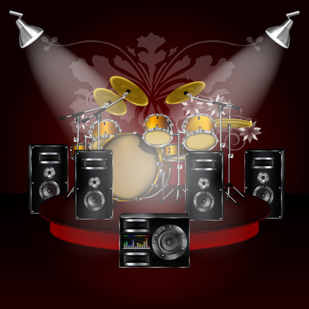 subwoofer: Background music drums on stage with speakers and subwoofer with an equalizer on a dark red background color. All elements of the individual, and can be edited as needed.