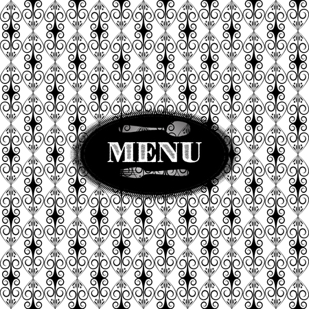 changed: Vector black and white vintage pattern for menu. Background has a seamless pattern, can be changed to any size. Illustration