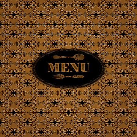 florid: Vector Vintage template for menu with florid ornamentation. Background has a seamless pattern, can be changed to any size.