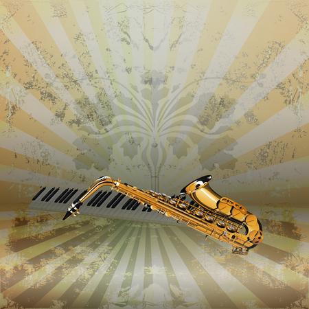 soprano saxophone: La música del vector saxofón jazz de fondo y teclas de piano con una textura rugosa en el fondo.