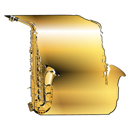 elongated: Vector musical background golden saxophone, elongated body vvide sheet outline saxophone. Isolation object on a white background.