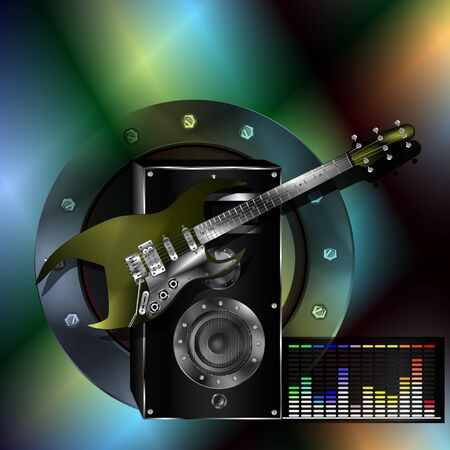 iridescent: Vector musical background with guitar speaker and EQ on a colored iridescent background. Can be used as a poster or advertising, all elements separate, can be changed as needed.