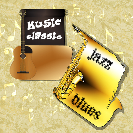 elongated: Vector musical background classical saxophone and guitar with elongated contours vvide framework for the text on a texture background with musical signs. Illustration