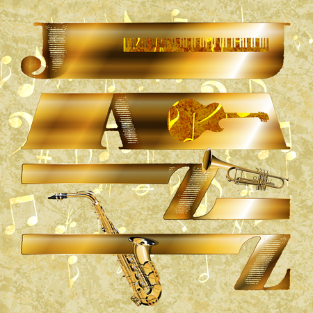fanfare: Vector Jazz music background in gold on the texture background with music notes and signs.It can be used as the poster, advertisement or separately.
