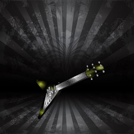 Vector chitarra elettrica in prospettiva su uno sfondo scuro in stile grunge Archivio Fotografico - 46535479