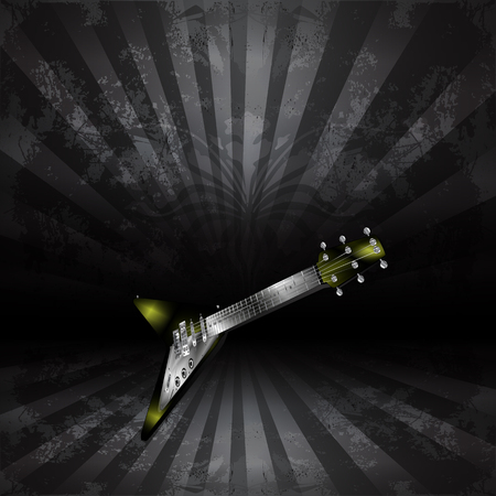 abstract music background: Vector electric guitar in perspective on a dark background in grunge style
