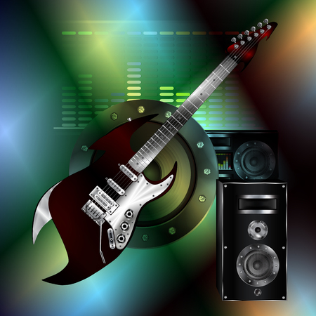 needed: Vector musical background with guitar speaker and equalizer on a colored iridescent background. Can be used as a poster or advertising, all elements separate, can be changed as needed.