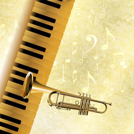 soprano saxophone: Vector de fondo musical de las teclas del piano y la trompeta en la textura de jazz con notas musicales y signs.It se pueden utilizar como un cartel, publicidad o por separado.