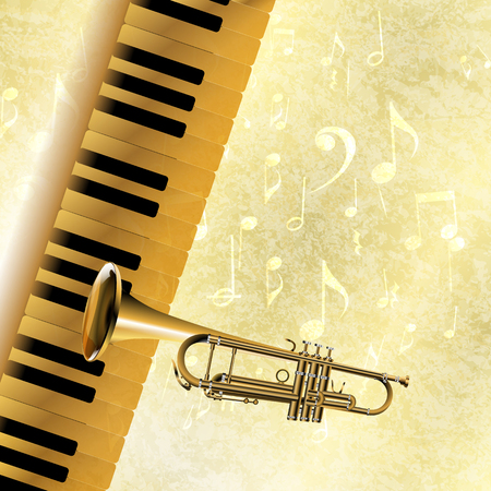 blare: Vector musical background piano keys and trumpet in the jazz texture with musical notes and signs.It can be used as a poster, advertising or separately.