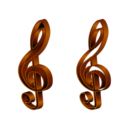 the substrate: Vector musical treble clef sign. The sign is made in two embodiments, the substrate frame plate and frame or separately only circuit. The isolated image on a white background, can be used in any images. Illustration