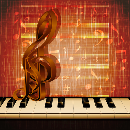 piano closeup: Vector musical background piano keys closeup with musical signs on the background of texture with notes.It can be used as a poster, advertising or separately.