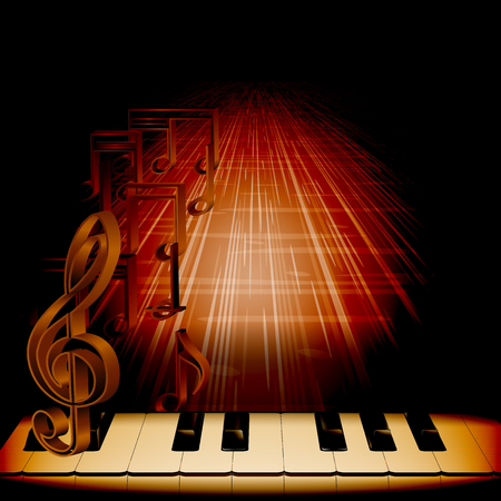 concert background: Vector musical background piano keys with a treble clef on a dark background with notes and texture in perspective. Can be used as poster advertising, or separately. Applied to any black background.