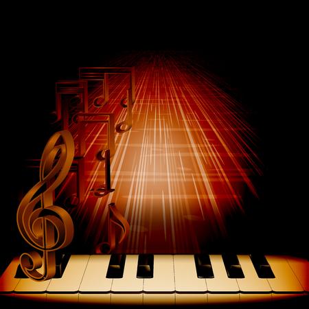 piano: Vector teclas de piano de fondo musical con una clave de sol sobre un fondo oscuro con las notas y la textura en perspectiva. Puede ser utilizado como publicidad de cartel, o por separado. Aplicado a cualquier fondo negro. Vectores