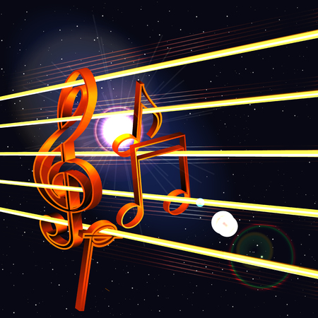 Vector treble clef with notes in space. Three-dimensional image can be used as the poster, advertisement or separately.