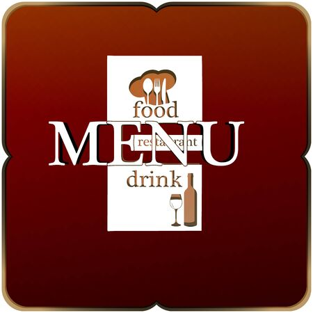 title page: Vector Template restaurant menu, title page, title, cover. The inscription is made as a template or stencil is isolated with a blank background.