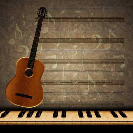 dimming: Vector musical background with acoustic guitar and dimming the piano keys on the texture background with music notes and signs.It can be used as a poster, advertising or separately.