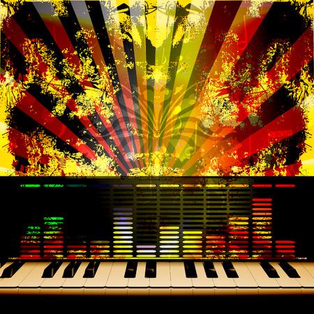 nota musical: Vector de fondo musical de las teclas del piano y un ecualizador en el fondo de textura iluminada con las notas y los rayos. Vectores