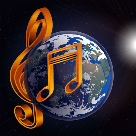 Vector musical notes and signs with the planet earth in space on background with stars and a bright glow. It can be used as a poster, advertising or separately.