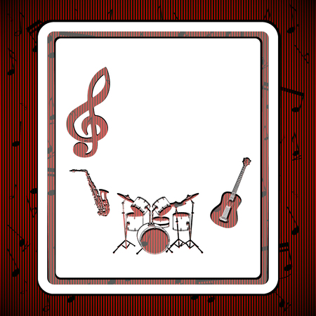solely: Vector musical background, template, stencil with a treble clef drums, guitar and saxophone, the texture on a red background.It can be used as a poster, advertising, or solely as a postcard. Illustration