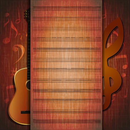 music symbols: Vector musical background frame sheet of guitar on textural background with notes. It can be used as a poster, advertising or separately.