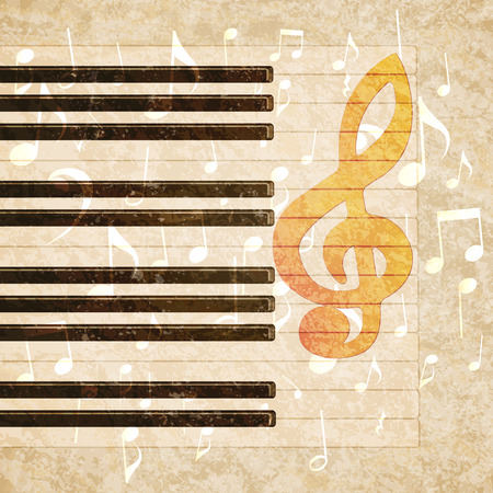 textural: Vector musical background piano keys and musical notes on a textural grunge background.It can be used as a poster, advertising or separately.