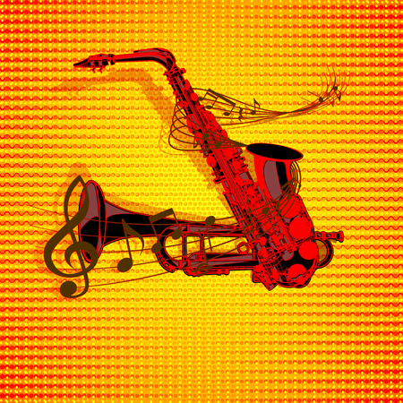 entwined: The vector form of saxophone and trumpet entwined with musical notes on a textural background with musical signs.It can be used as a poster, advertising or separately.