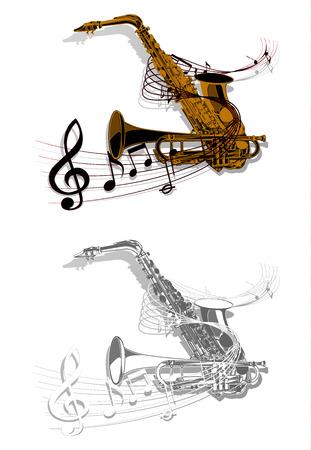 trompeta: Vector el modelo saxofón y la trompeta entrelazados con notas musicales. objetos aislados en blanco, se puede utilizar con cualquier imagen.