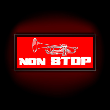 nonstop: Vector red lights that display board the words non-stop, on a dark background with a trumpet. Suitable to any image with a black background. Illustration