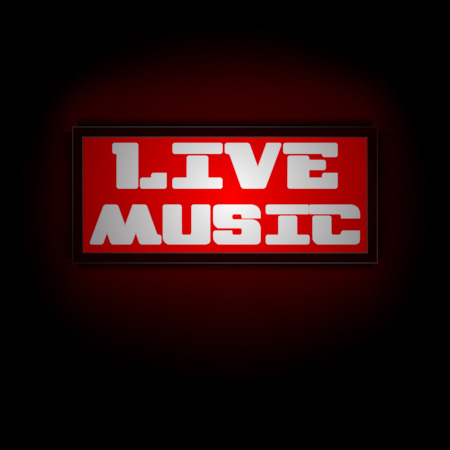 display board: Vector red luminous display board live music. You can use any image on a black background.