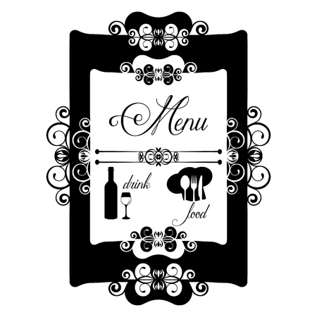 assigned: Vintage frame decorated restaurant menu. Isolated object in black on a white background can be assigned any color and any use of images and backgrounds.