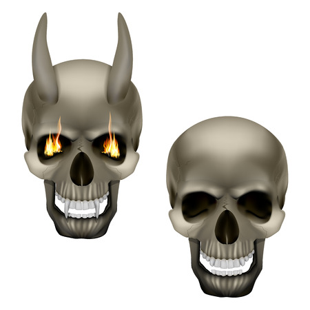 Vector skull vampire monster with fangs and horns and a human skull. Isolated objects on a white background, can be used with any image. Çizim