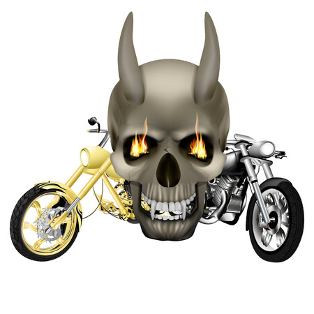 animal head: Vector skull vampire monster with fangs flames in front of the background of two motorbike, choppers. Isolated object on a white background, can be used with any image.