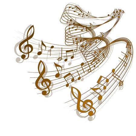 orquesta clasica: vector de onda de notas musicales con una sombra. Objeto aislado en un fondo blanco, se puede utilizar con cualquier imagen o por separado.
