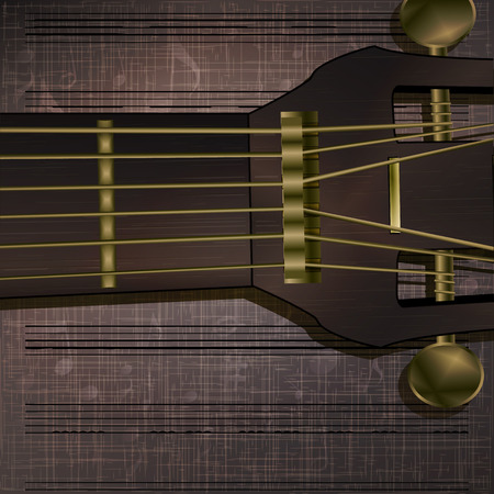 guitar neck: Vector musical background guitar neck with fabric texture and an acoustic guitar. It can be used as a poster, advertising or separately.