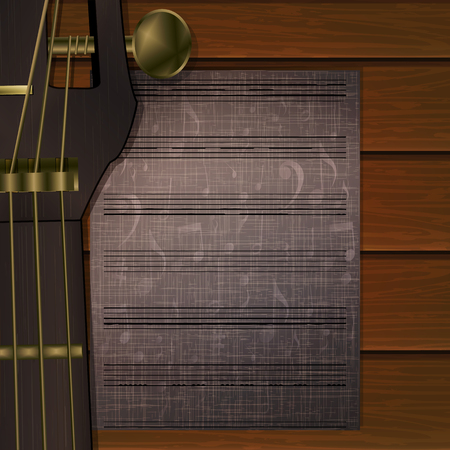 fingerboard: Vector guitar neck close-up on wooden background with a sheet of musical notes. Can be used as poster advertising, or separately.