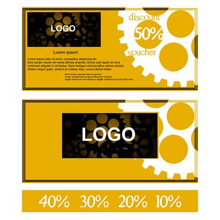 Vector discount voucher mechanism gear blank place for logo with additional figures, 50 percent, 40 percent, 30 percent, 20 percent and 10 percent. Иллюстрация