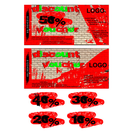 Vector pattern for discount voucher graffiti on a brick wall, the front and reverse side, added examples of figures 50 percent, 40 percent, 30 percent, 20 percent and 10 percent. Иллюстрация