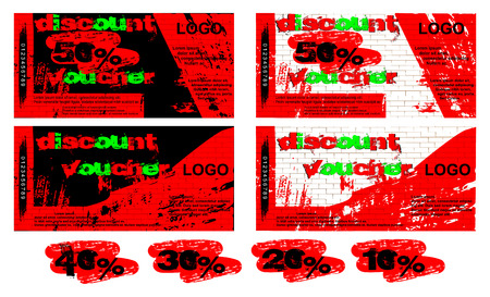 Vector template gift voucher black and white background of graffiti on a brick wall, the front and reverse side, added examples of figures 50 percent, 40 percent, 30 percent, 20 percent and 10 percent.