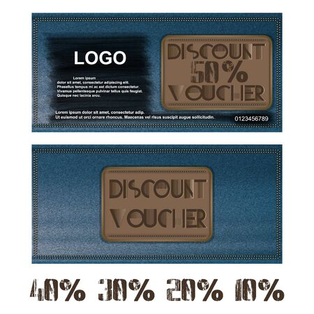Vector voucher discount on jeans background. Further presented figures 50 percent, 40 percent, 30 percent, 20 percent and 10 percent.