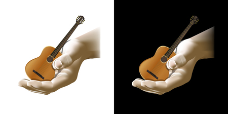 strum: Vector acoustic guitar in hand, isolated object, can be used with any image.