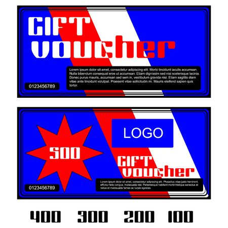 further: Vector gift voucher in red and white colors. Further presented figures 500, 400, 300, 200 and 100.