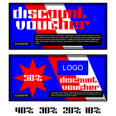 further: Vector discount vouchers in red and white colors. Further presented figures 50 percent, 40 percent, 30 percent, 20 percent and 10 percent.