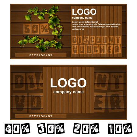 further: Vector discount voucher wooden boards. Further presented figures 50 percent, 40 percent, 30 percent, 20 percent and 10 percent.