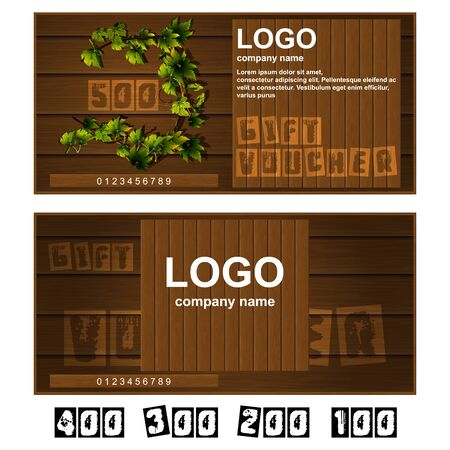 further: Vector gift voucher wooden boards. Further presented figures 500, 400, 300, 200 and 100.