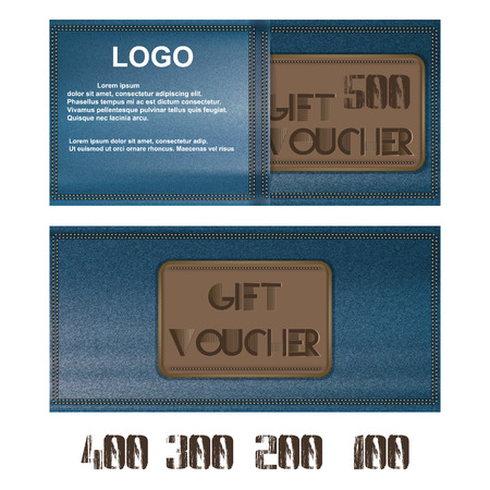further: Vector Gift voucher for jeans background pocket. Further presented figures 500, 400, 300, 200 and 100.