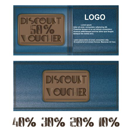 Vector discount voucher for jeans background pocket. Further presented figures 50 percent, 40 percent, 30 percent, 20 percent and 10 percent.