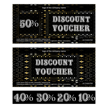 Vector discount voucher gold background with ornate border, with additional figures, 50 percent, 40 percent, 30 percent, 20 percent and 10 percent.
