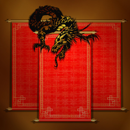 Chinese scroll: Chinese dragon on a red scroll on a gold background.